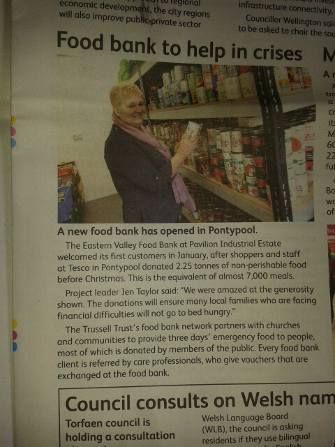 Food Bank in the local Paper.
