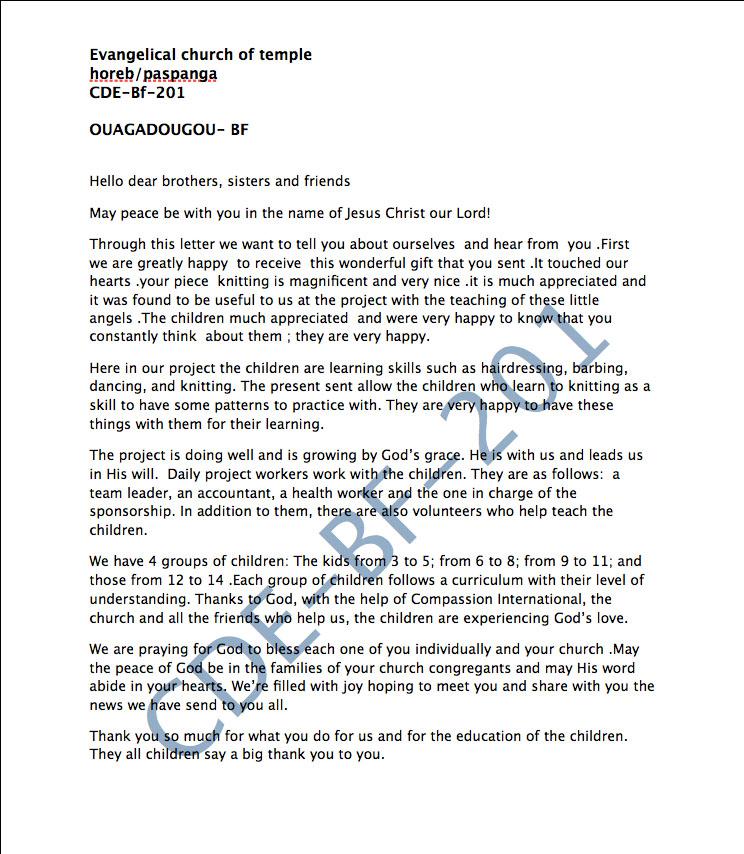 Compassion Letter